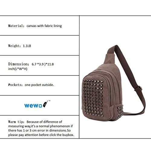 Wewod , Borsa Messenger  Donna Uomo, blu (Blu) - JX-xb-1286 marrone