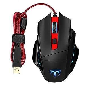 VicTsing Mouse da Gioco Programmabile 7 Pulsanti Gaming Mouse a Laser, LED, DPI Regolabile (1000/1600/2400/3200/6400), per Giocatori Professionali, Ufficio, Scuola, Casa, per PC Mac Computer, Rosso