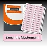 128 bedruckte Wäsche-Etiketten - rosa, schwarze Schrift - 9 mm x 55 mm (max. 25 Zeichen) - in Industriequalität zum Aufbügeln - waschmaschinenfest - nicht ablösbar - von Luminess - Made in Germany