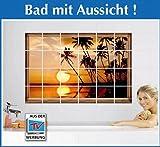 Wenko Fliesendekor Tropical Sonnenuntergang selbstklebend 10x10 cm Fliesenaufkleber Kacheldekor