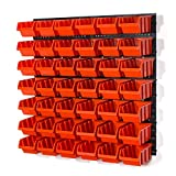 Lager Wandregal Lagerregal, 42 Stapelboxen Orange Gr. 3 POP Serie, 4 Wandplatten + Organizer