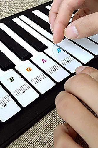 Klavier Aufkleber,Abnehmbar und Transparent Aufkleber für für 37/49/54/61/88 Key Tasten Piano, Noten Aufkleber Kinder und Anfänger