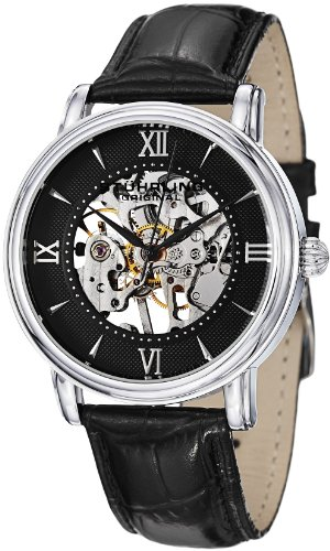 Stuhrling Original Men's 458G2.33151SET Classic Delphi Chamberlain Mechanical Skeleton Black Dial Watch Set image