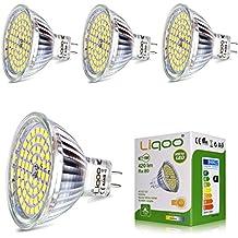 Liqoo® 4x 5W MR16 GU5.3 12V Bombilla LED Blanco Frío 4500K GX5.3 Lámpara Bajo Consumo Equivalente a 35W 60leds Foco Spot LED Luz de Techo 2835SMD Ra80[Clase de eficiencia energética A+]
