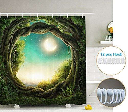 Cortina de ducha 3D con los anillos (71x 71inches), Enchanted la cortina de ducha de la luna llena del bosque para adornar la decoración de hadas del cuarto de baño en los cabritos artísticos Muchachos Muchachos y la familia