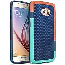 Galaxy S6 Funda - [Ultra Hybrid] HanLuckyStars Funda Carcasa Case TPU Matte Shell Exact Bumper Tope Shock Protección Gota Anti-Arañazos, Choque Absorción Borrar Espalda para Samsung Galaxy S6 (Azul)