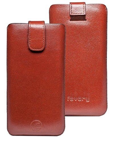 Favory Etui Tasche für / Motorola Moto G 4G LTE (2. Gen.) / Leder Handytasche Ledertasche Schutzhülle Case Hülle *Lasche mit Rückzugfunktion* in braun