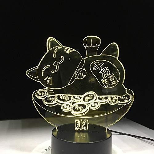 Fengdp Gold Fortune Cat 3D Lampe 7 Farbe Led Nachtlampen für Kinder Touch Led USB Tisch Lampara Lampe Baby Sleeping Nightlight