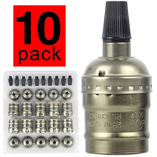 10 pcs / lot Edison ampoule titulaire Vintage laiton Socket E27 lumière ensemble pour Retro Edison ampoule pendentif lumière mur Scone bricolage (vert bronze)