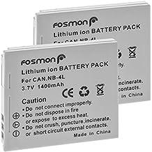 Fosmon (2 paquete) Canon NB-4L reemplazo de la batería paquete para Canon Digital 50/40, Digital IXUS 30/ 40/ 50/ 55/ 60/ 65, Digital IXUS WIRELESS/ IXUS i zoom/ IXUS i7 zoom/ IXY Digital Wireless/ IXY Digital 40/ 50/ 55 / 60/ IXY Digital L3 Series/ IXY Digital L4/ IXY Digital Series/ PowerShot SD30/ SD40/ SD400/ SD430 WIRELESS/ SD450/ SD600/ SD630/ Powershot SD Series/ Powershot SD200/ SD300