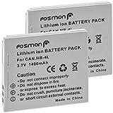 Fosmon 3.7V 1400mAh (2 Pack) Ersatz Batterie Li-Ion Akku Canon NB-4L für Canon IXUS 30, 40, 50, 55, 60, 65, 70, 75, 80 IS, 100 IS, 110 IS, 115 HS, 117 HS, 120 IS, 130, 220 HS230 HS, i Zoom, i7 Zoom, Wireless // IXY Digital 10, 40, 45, 50, 60, 65, 70, 75, 80, 90, L3, L4, Wireless // PowerShot ELPH 100 HS, 300 HS, 310 HS, SD30, SD40, SD200, SD300, SD400, SD430, SD450, SD600, SD630, SD750, SD780 IS, SD940 IS, SD960 IS, SD1000, SD1100 IS, SD1400 IS, TX1