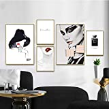 Leinwand Drucke Malerei wandkunst Vogue Modernes Mädchen Lippen Schwarz Parfüm Wandbilder Kunst für Wohnkultur-30x40 50x70 cm (kein Rahmen)