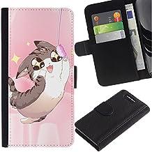 LASTONE PHONE CASE / Lujo Billetera de Cuero Caso del tirón Titular de la tarjeta Flip Carcasa Funda para Sony Xperia Z1 Compact D5503 / Japanese Anime Cat Johnsu Happy Art