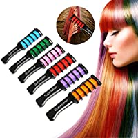Supmaker Hair Chalk Comb Disposable Instant Hair Color Cream For Kids Hair Dyeing Party and Cosplay DIY, Works on All Hair Colors, Mini 6PCS (6 colors)