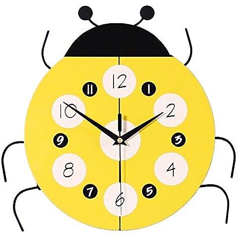 Henggang I bambini sono decorate in campana gialla 16 , coccinelle orologio da parete China Home Office Decor moda creativa lo stile di vita moderno decor colorato e singolare dono Mute orologio da parete a parete