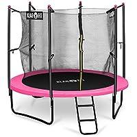 Klarfit Rocketgirl 250 Cama elástica trampolin con red de seguridad (superficie base 250 cm diametro, sujecion 3 patas doble, varillas de sujecion acolchadas, lona resistente a los rayos UV, protector de lluvia, rosa)