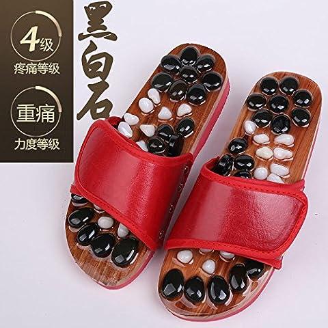 2Paar Cobblestone Fuß Massage Hausschuhe Acupoint Pediküre Schuhe Badezimmer Rutschfest Hausschuhe, Black and white Chinese Red, 35-36