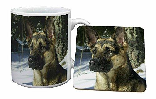 Advanta - Mug Coaster Set Deutsch Schäferhund im Schnee Becher und Untersetzer Tier Ges Mug Coaster Set
