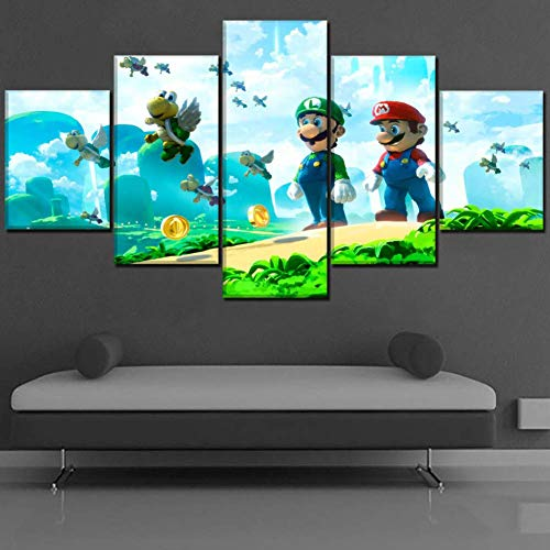 Canvas Moderne Home Decor Toiles Photo Art Impressions sur Toile 5 Pièces De Dessin Animé HD Imprimer Super Mario Bros Peinture sur Toile Artworks,B,30 * 40 * 2+30 * 60 * 2+30 * 80 * 1