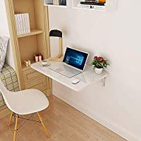 Acacia Bird Folding table-Wall Mounted Laptop Table Drop-Leaf Table Kitchen Dining Table For Small SpaceFold Down Wood-based Panel Home Office Computer Desk (White)