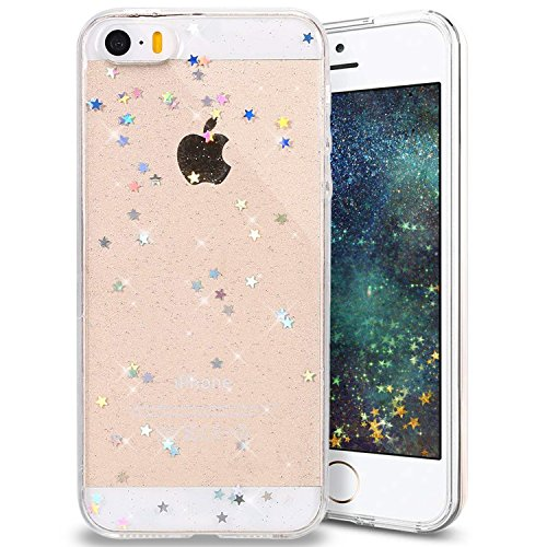 Everwell iPhone 5/5S/SE Hülle, Handyhülle iPhone 5/5S/SE, Glitzer Bling Sterne Slim Transparent Weiche Silikon Stoßfest Schutzhülle Durchsichtig TPU Bumper Cover Case für iPhone 5/5S/SE