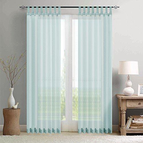 TOPICK Sheer Vorhang mit Stangendurchzug transparent Gardine 2 Stücke Gaze paarig schals Fensterschal Vorhänge 225 cm x 140 cm(H x B),2er-Set,Blau