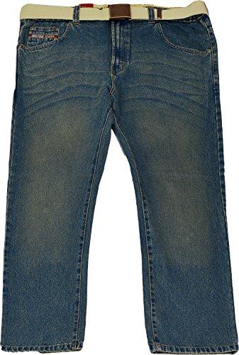 Herren Denim-Jeans mit Gürtel, Innenbeinlänge: 76 cm große Größen Taillenumfang bis 56 - Denim Green
