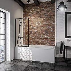 Schulte pare baignoire pivotant, paroi de baignoire rabattable, écran de baignoire noir, 1 volet pliant, verre décor Atelier 3, 70x130 cm