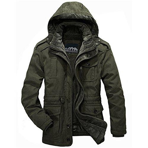 Abbigliamento uomo cotone uomini Coat Giacca invernale Giacca invernale, uomini Coat uomini Eskimo calda lana pesanti gli uomini giacca invernale uomini Coat camicia taglia M-4XL Army Green