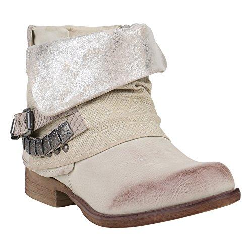 Damen Biker Boots Nieten Schnallen Stiefeletten Rockig Gr. 36-42 Schuhe 129281 Beige Nieten 38 Flandell