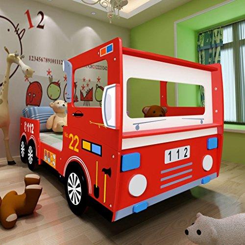 Offre de prix vidaXL Lit Camion de Pompier pour Enfants Lit d'enfant 200 x 90 cm Rouge