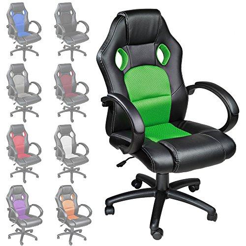 TecTake Poltrona Sedia direzionale da ufficio Racer classe di lusso - disponible en diferentes colores (Verde)