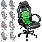 TecTake Silla de escritorio de oficina, Racing - disponible en diferentes colores (Verde)