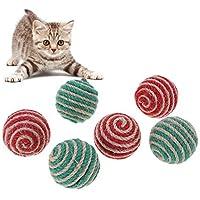 Broadroot. Juguete de pelota de cuerda de sisal con plumas artificiales para gato multicolor