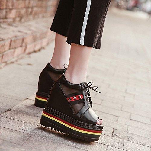 Gtvernh-le Printemps Et L'été Chaussures De Chaussures De 8.5cm Avec Des Talons Hauts Avec Une Bouche Épaisse Sucette Imperméable À L'eau Sucrée Fil Net Sandales Esclave, Trente-quatre Trente-sept
