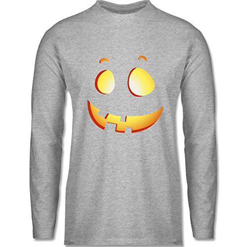 Shirtracer Halloween - Süßer Halloween-Kuerbis Kinder - Herren Langarmshirt Grau Meliert