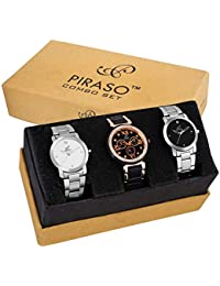 PIRASO-Analogue White Black Dial Women's Combo of 3 Watch - PW3-14