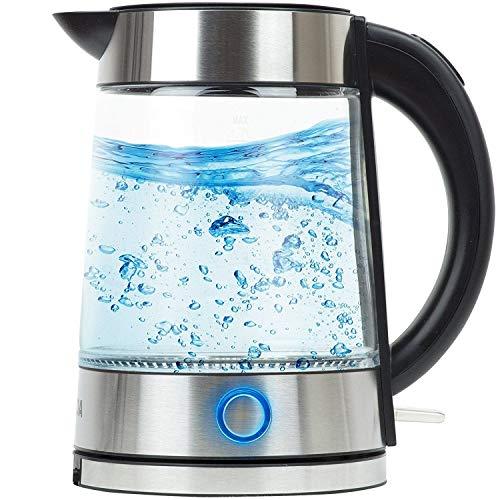 VERDA Wasserkocher 1,7L 2000W Edelstahl LED Beleuchtung Kabelloss Glas SN0617L-3