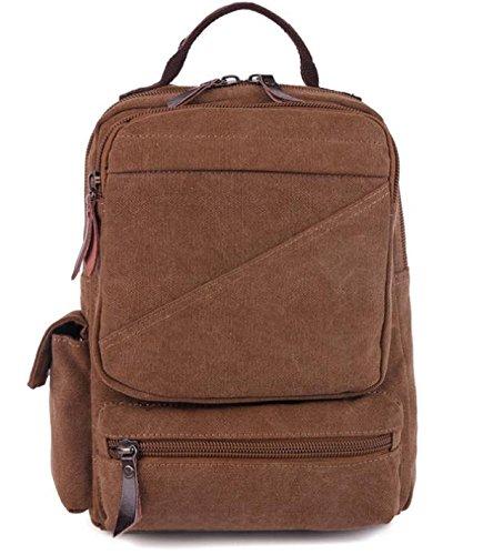 &ZHOU Borsa di tela, duplice uso multi-funzionale di tela borsa a tracolla borsa da viaggio retrò per il tempo libero, casual borsa a tracolla, borsa di petto, borsa messenger , deep blue coffee color