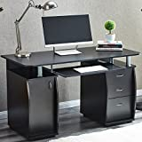RayGar Black Deluxe Design Computer Desk With Cabinet and 3 Drawers For Home Office Table Workstation - New (Black)