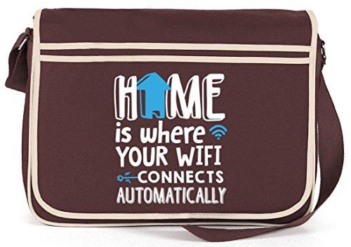 Shirtstreet24, Home Wifi, Retro Messenger Bag Kuriertasche Umhängetasche Braun