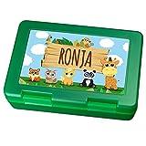 Brotdose mit Namen Ronja - Motiv Zoo, Lunchbox mit Namen, Brotdose Light Green - Frühstücksdose Kunststoff lebensmittelecht