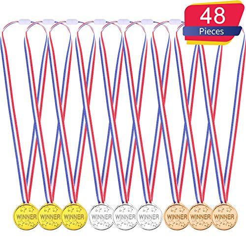 Gewinner Medaillen Kinder Kunststoff Gold Silber und Bronze Gewinner Auszeichnungen Medaillen (48 Stücke) -
