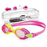 StillCool Occhiali da nuoto, Occhialini da Nuoto a specchio anti UV, anti appannamento per bambini con Clip per Naso e Tappi per Orecchie (Rosa)