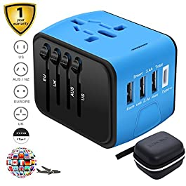 SZROBOY Worldwide Travel Adapter Universal Travel Power Adapter All in One International Wall Charger 3 USB Ports Type-C Port with AC Plugs Power Outlet for EU,UK,US,AU over 200 Countries (Blue)