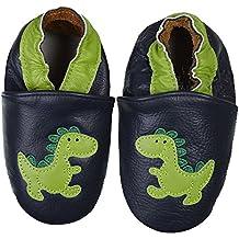 Dotty Fish Zapatos de Cuero Suave Para Bebés - Niños - Marrón y Dinosaurio Verde - 25 OmEtDX