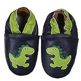 SmileBaby Premium Leder Lauflernschuhe Krabbelschuhe Babyschuhe Schwarz Dinosaurier 12 bis 18 Monate