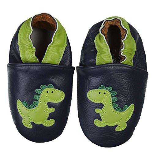 SmileBaby Premium Leder Lauflernschuhe Krabbelschuhe Babyschuhe Schwarz Dinosaurier 12 bis 18 Monate Mädchen Schuhe Leder