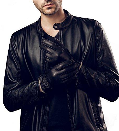 YISEVEN Men's Lined Deerskin Leather Gloves Handsewn