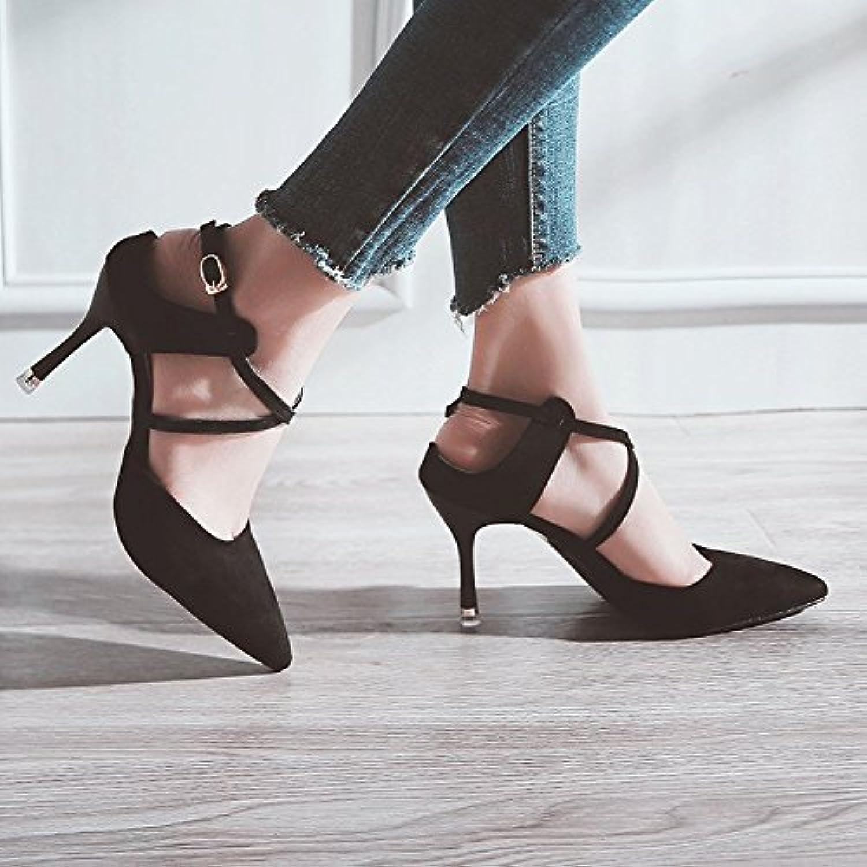 Xue Qiqi Pequeños y los Zapatos Singles Femeninos Zapatos de Punta Fijaciones ranuradas, Mujeres con Sandalias...